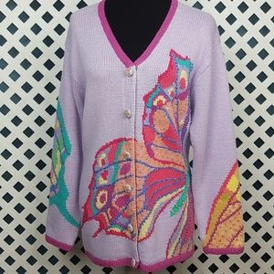 Storybook Knits Vintage Butterfly Sweater   M